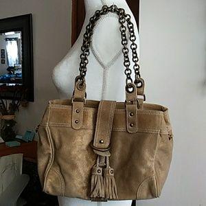 J. Crew Gold Shimmer all Leather Bag.